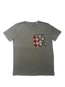 Camiseta chico algodón orgánico gris con bolsillo